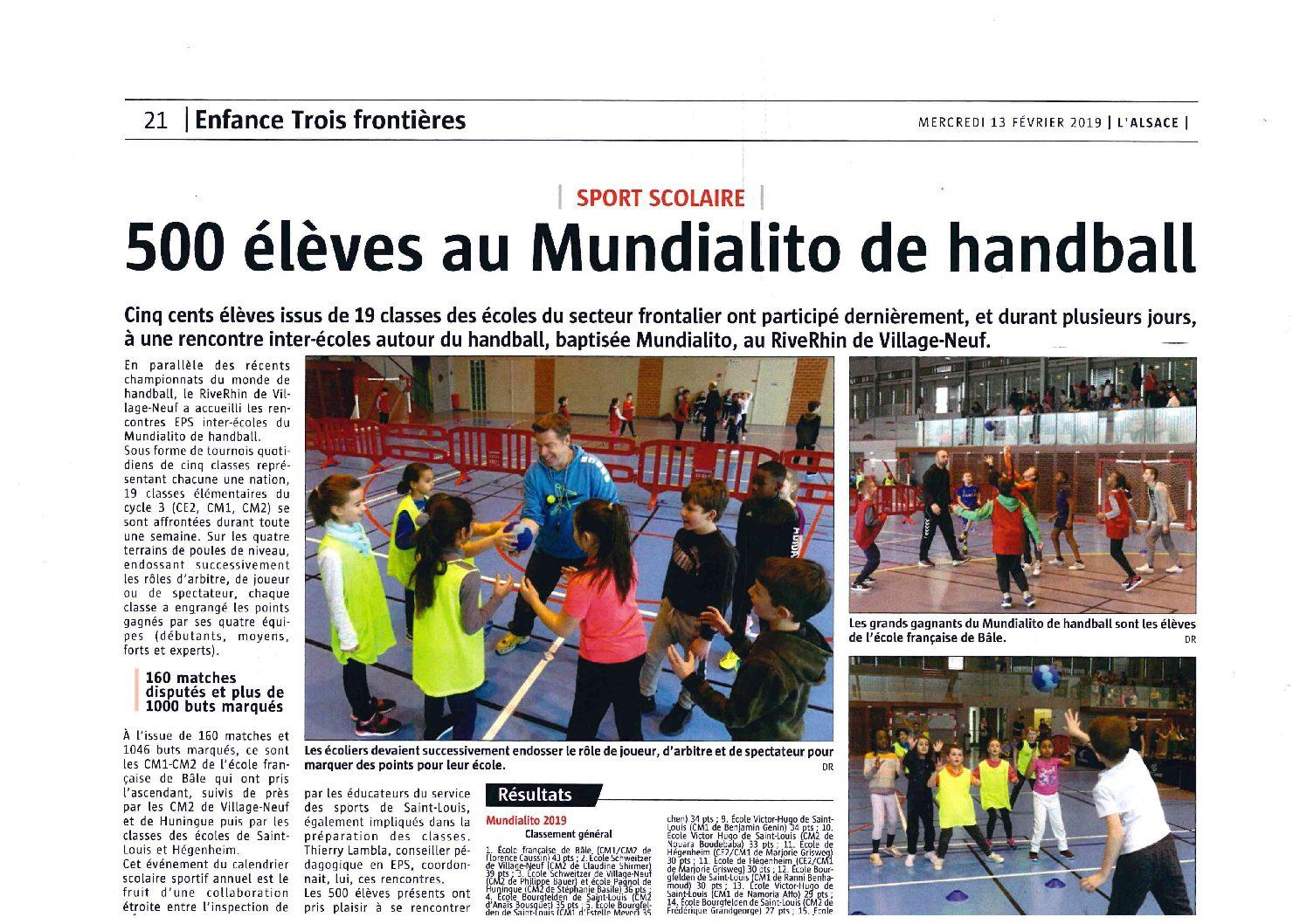 Article du journal l'Alsace de février 2019 – Mundialito de Handball